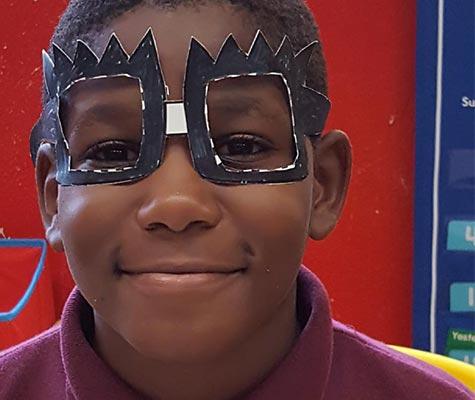 Boy with handmade Mask